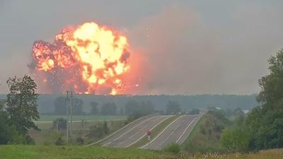 Watch as a massive ammunition depot blows up in Ukraine