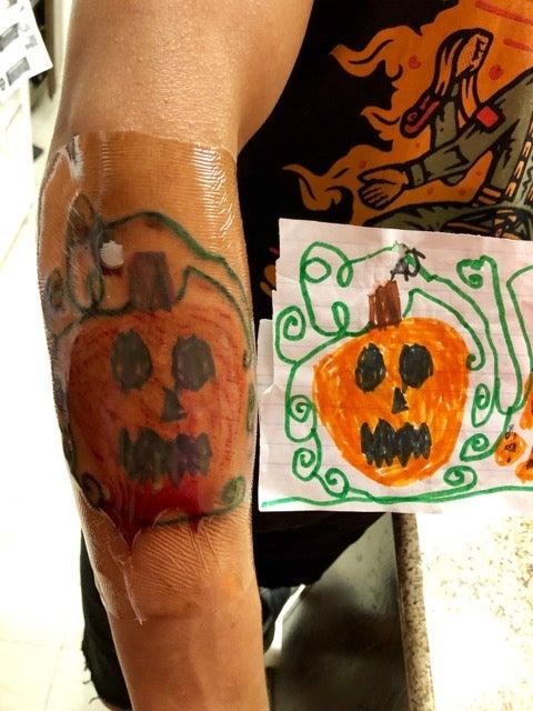OG Pumpkin design and tattoo on Former Army Ranger Angel Cortes's arm.