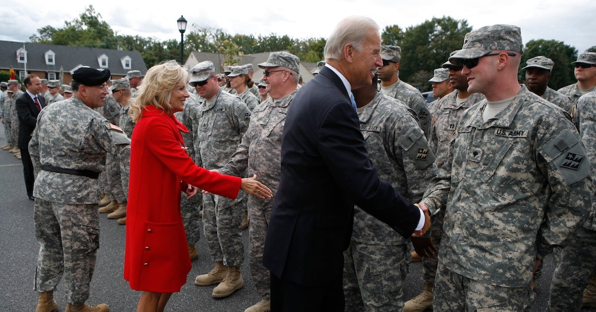 President Biden and wife, Dr. Jill Biden, greet soldiers