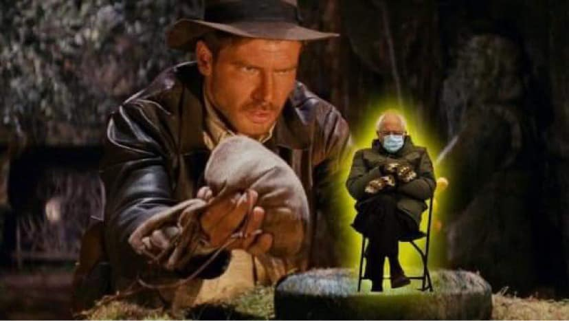 Bernie Sanders photoshopped into Indiana Jones.