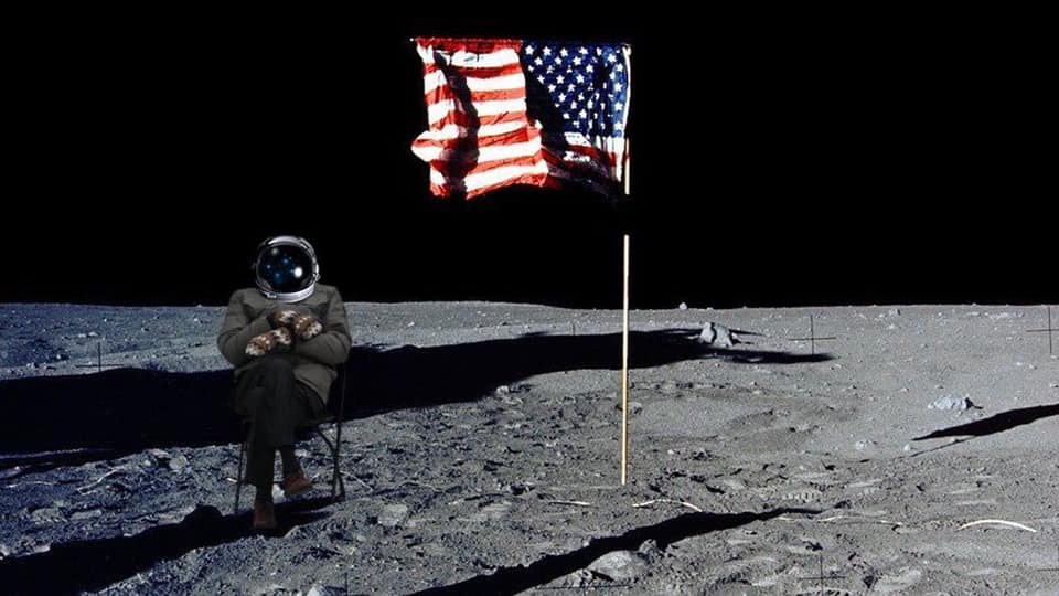 Bernie Sanders photoshopped onto the moon