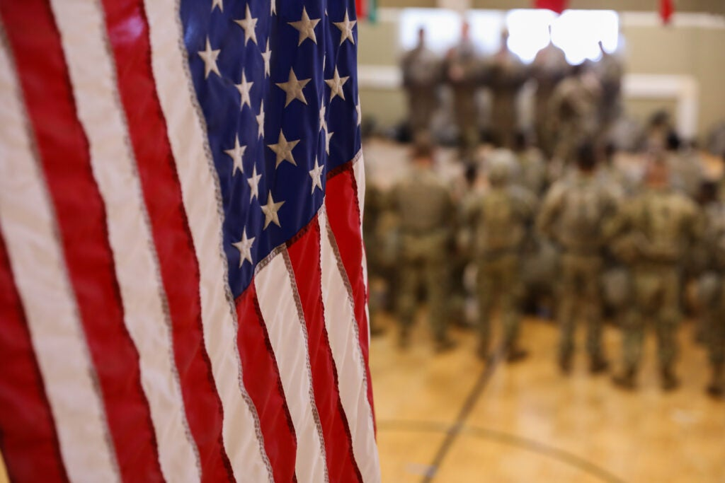 Photo of American flag in front of B Troop