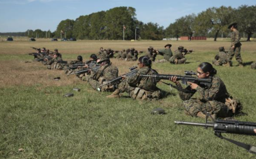 Soldiers working on their rifle score
