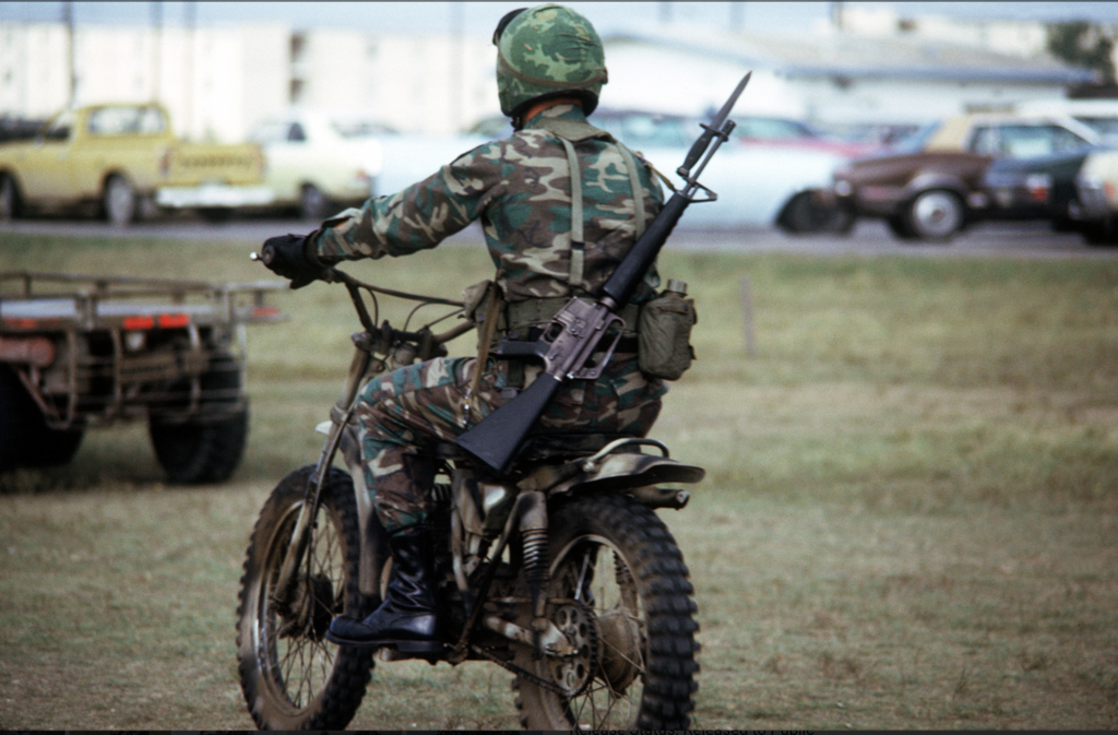 tactical motorcycle in camo