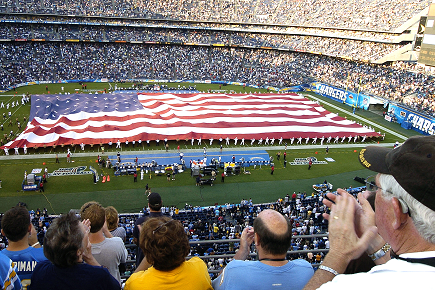 The American flag being featured at a NFL game
