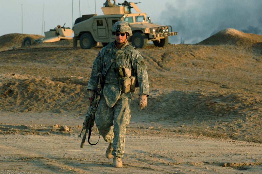 An Army Sergeant walking across Route Green. The army is one of the most popular branches.