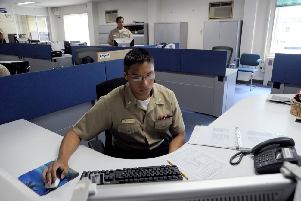 soldier on active duty in an office