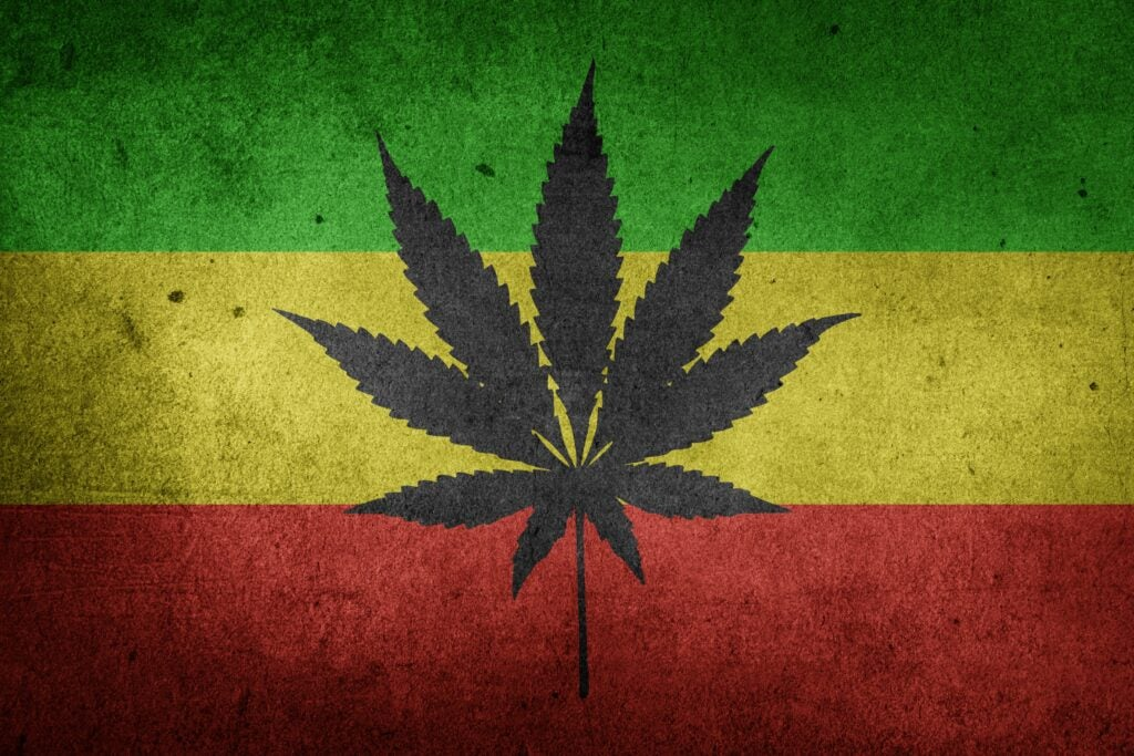 Cannabis flag. Cannabis is now legal in many states, so being a drug lord is harder than it once was. l