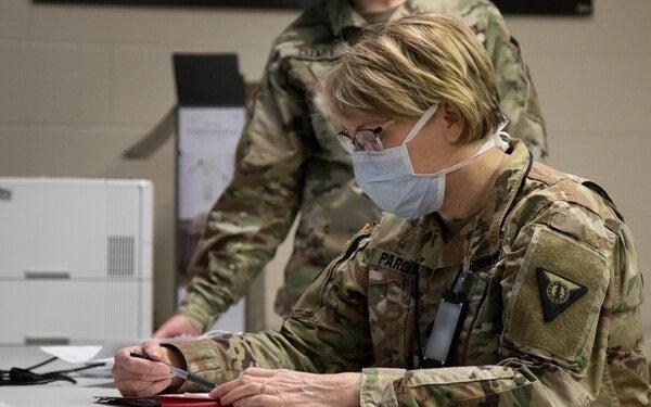 lieutenant doing paperwork