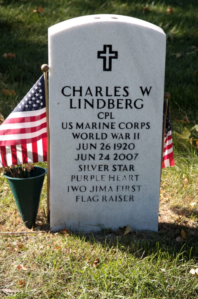 Grave of Charles Lindberg, who participated in the flag raising
