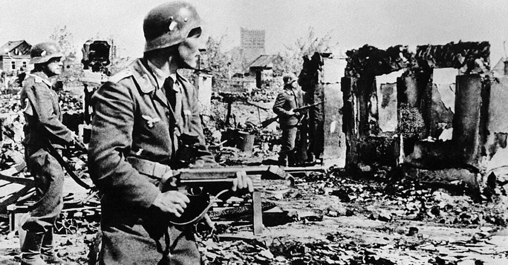 German soldier with an MP40
