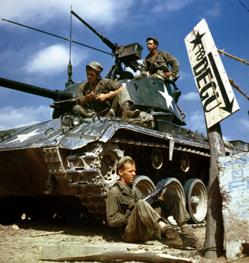 crew of an m24 during korean war