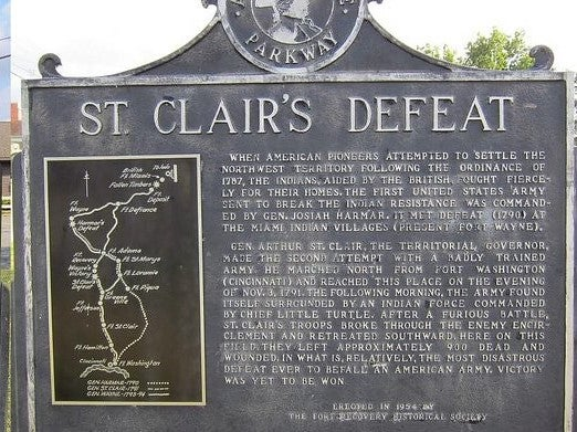 St. Clair's Defeat commemorative plaque