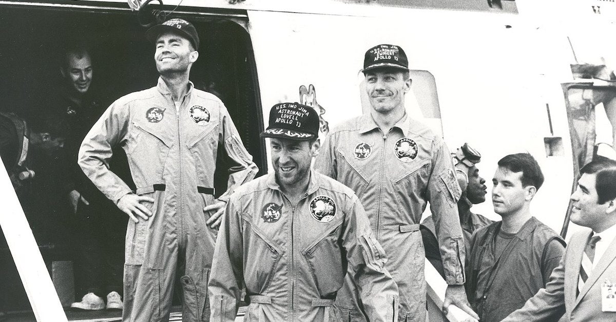 Apollo 13 Crew on USS Iwo Jima