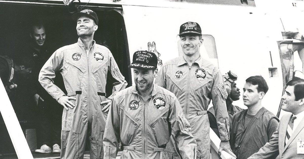 Apollo 13 Crew on USS Iwo Jima