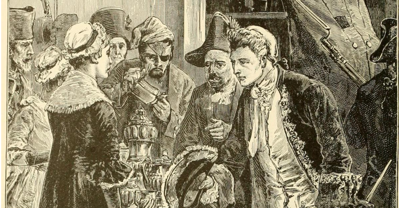 Illustration of John Paul Jones stealing silver
