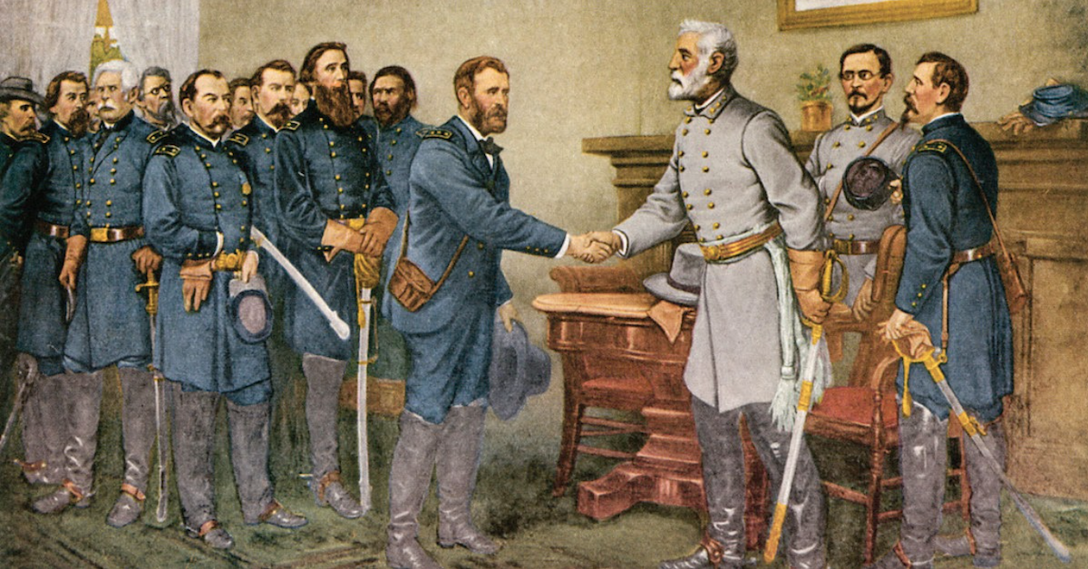 Painting of General Lee surrendering in Appomattox Courthouse