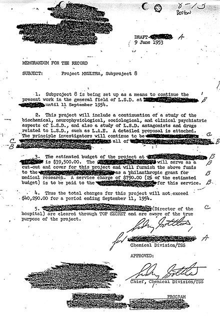 Sidney Gottlieb approved of a letter about mind-control program