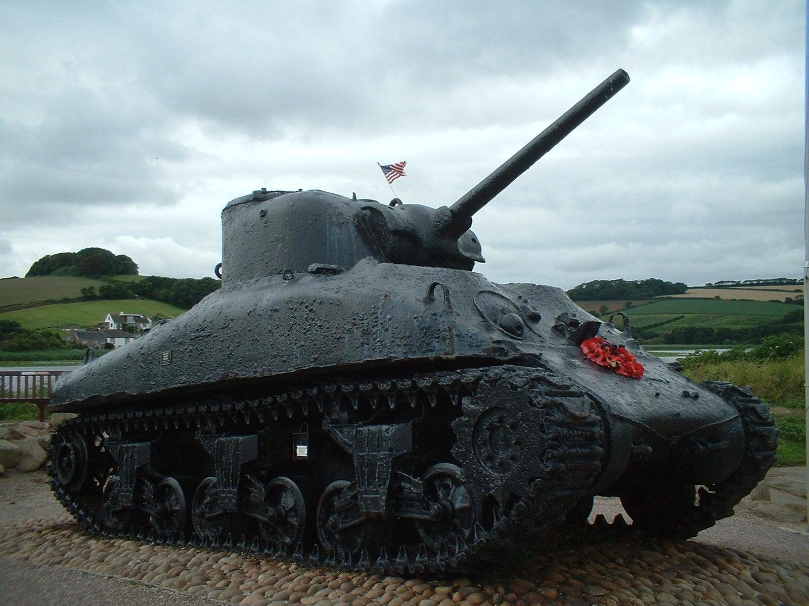 sherman tank honoring those killed during exercise tiger