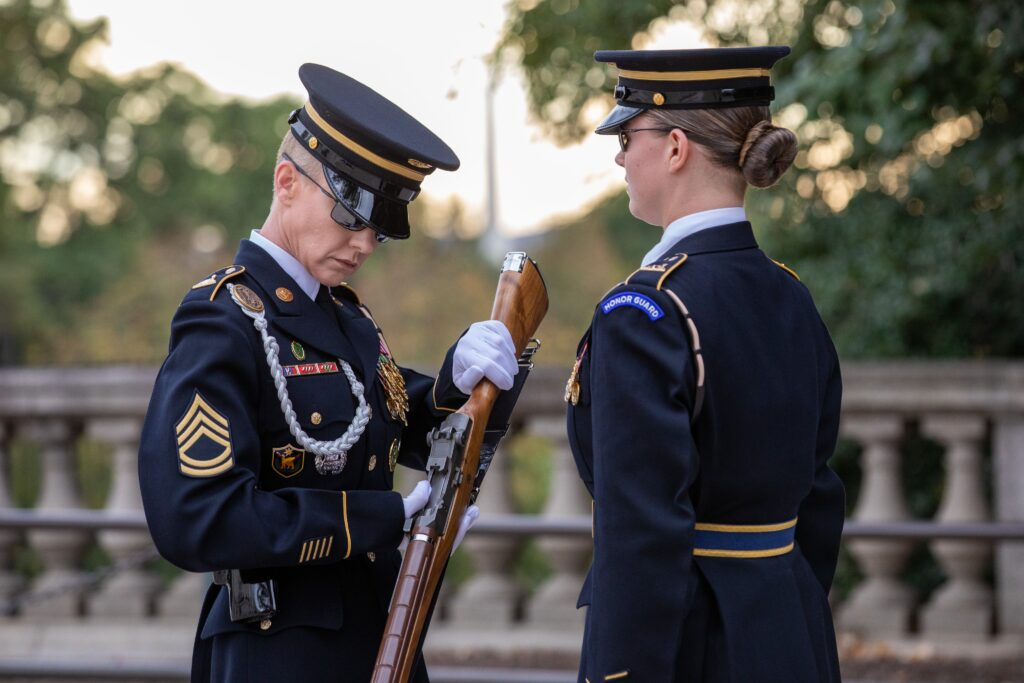 The first all-female guard change at the Tomb of the Unknown Soldier