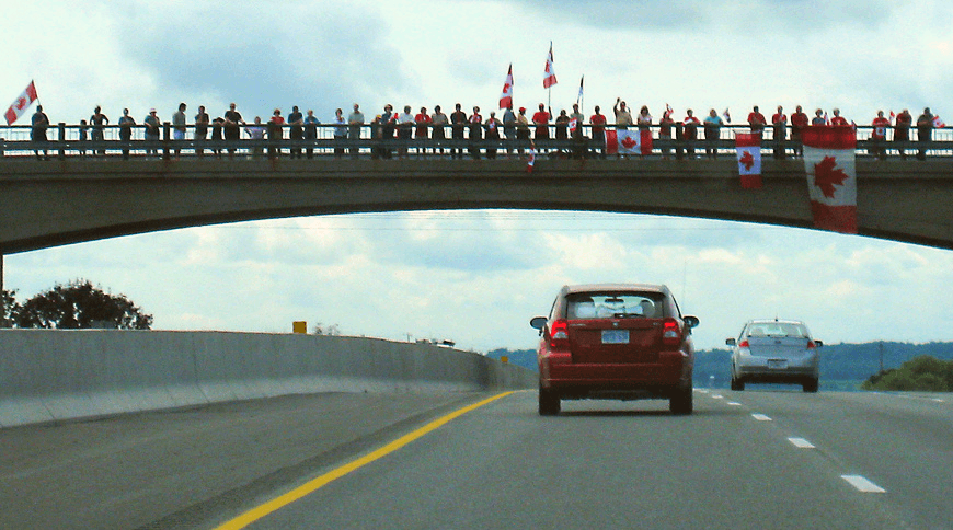 Canadians honor their fallen troops by lining the 'Highway of Heroes'