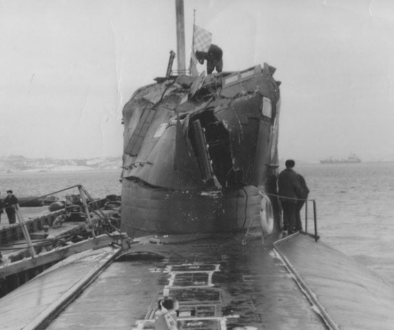 That time a surfacing Russian sub slammed into an American spy submarine