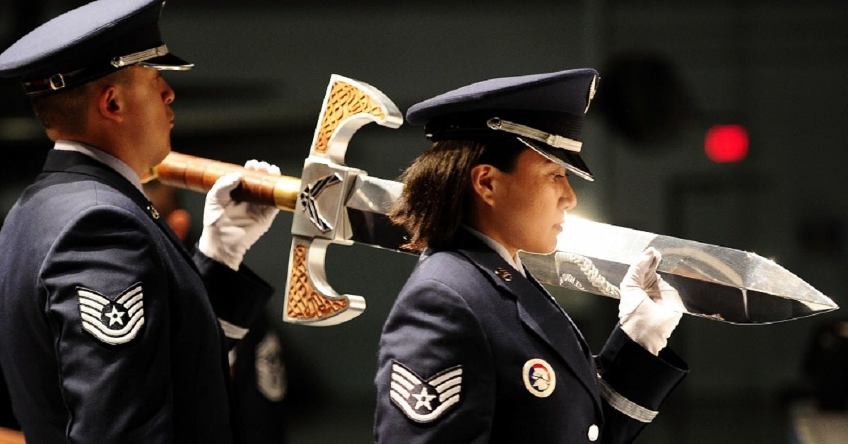 These are the Air Force swords that look like they belong in a video game