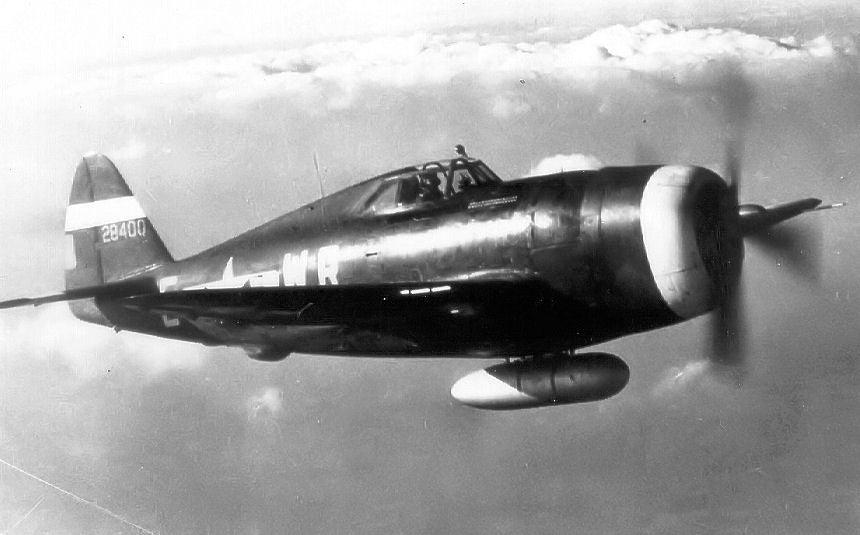 A P-47 Thunderbolt with a drop tank