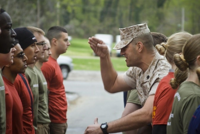 "A drill sergeant uses his ""knife hand"" to yell at recruits"