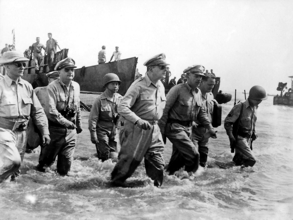 Gen. Douglas MacArthur returns to the Philippines in 1944.  (U.S. Army)