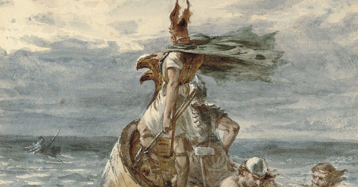 Viking artwork shows a recon paddle