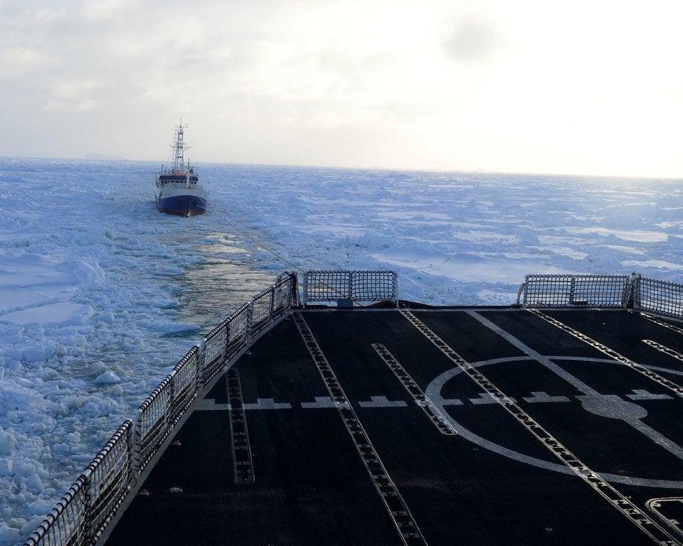 What happened when a Coast Guard icebreaker caught fire near Antarctica