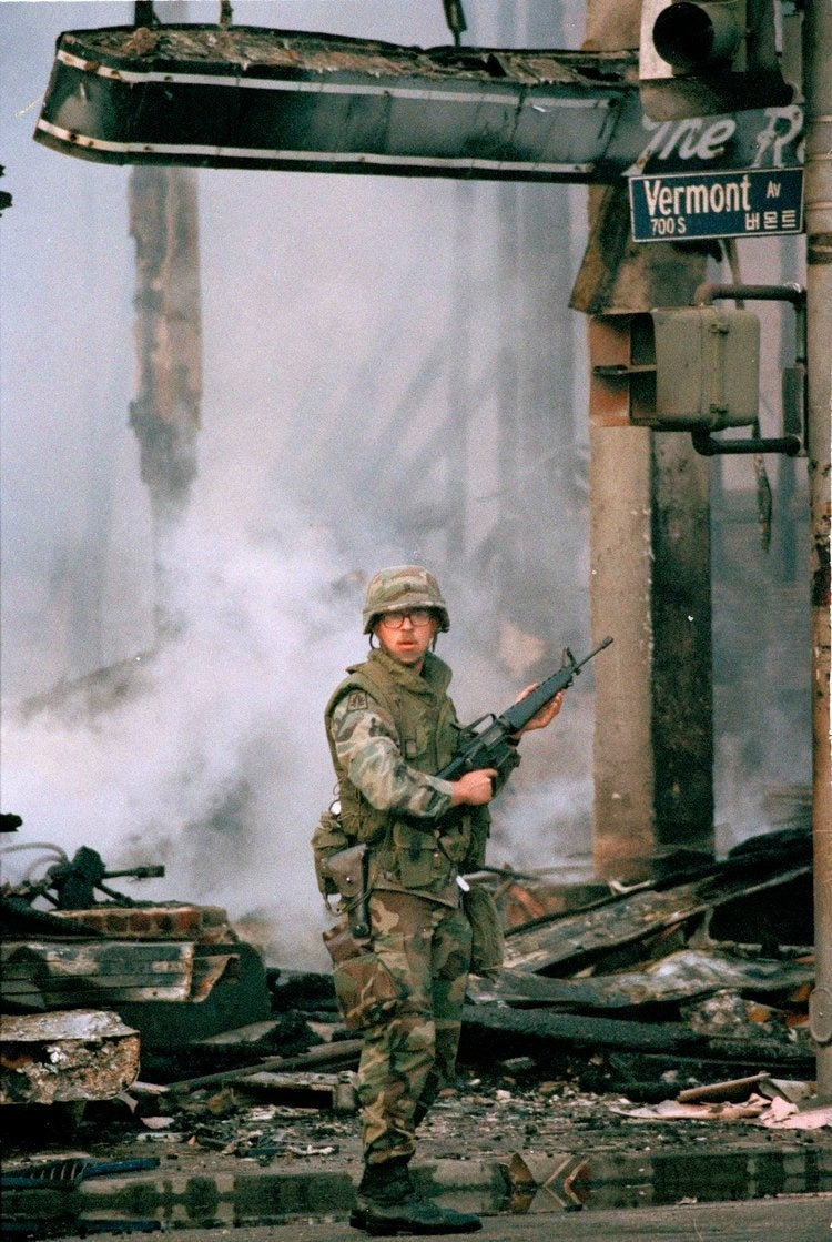 Marines stole the spotlight from the National Guard in the LA Riots