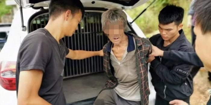 Police drone finds Chinese fugitive living in a hillside cave