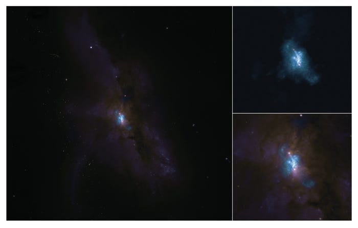 Image shows pair of black holes stuck in a collision between galaxies