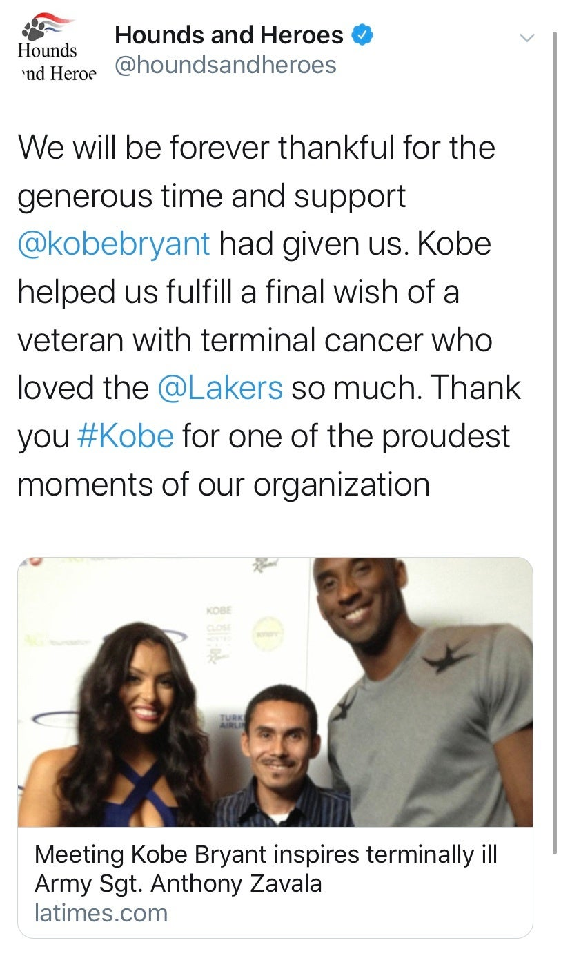 Veterans everywhere agree: You can mourn Kobe Bryant
